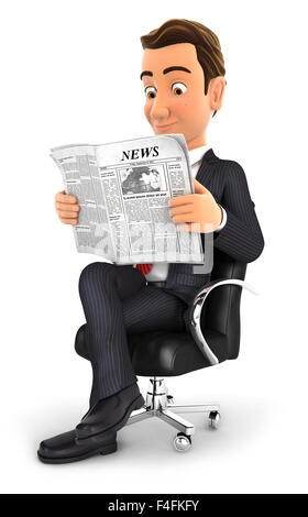 3d businessman sitting on chair and reading a newspaper, isolated white background - Stock Photo
