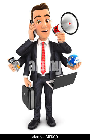 3d businessman multitasking with six arms, isolated white background - Stock Photo