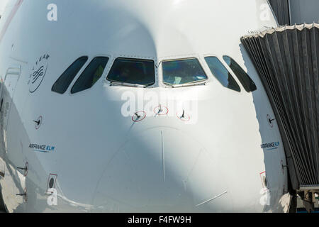 Nose of Air France/KLM Airbus A380 parked at jetway, Charles de Gaulle Airport - Stock Photo