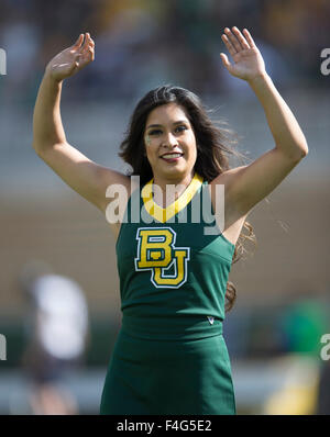 Waco, Texas, USA. 17th Oct, 2015. Baylor Bears cheerleader during the NCAA football game between the West Virginia Mountaineers and Baylor Bears at McLane Stadium in Waco, Texas. JP Waldron/Cal Sport Media/Alamy Live News Stock Photo