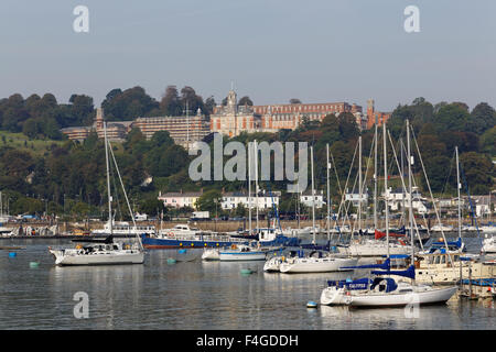 The Town of Dartmouth on the River Dart Viewed From Kingswear. - Stock Photo