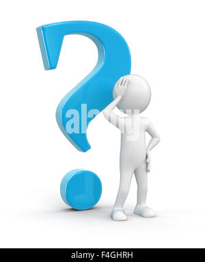 Man and question. Image with clipping path - Stock Photo