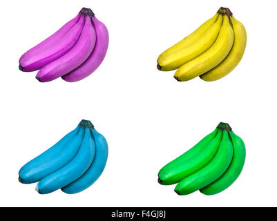 Four sets of bunches of bananas tinted purple, yellow, blue and green isolated on white background. - Stock Photo