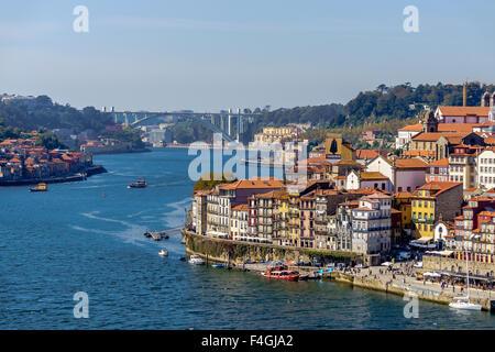 View of Ouro River and Porto from Ponte Luis I bridge. September, 2015. Porto, Portugal. - Stock Photo