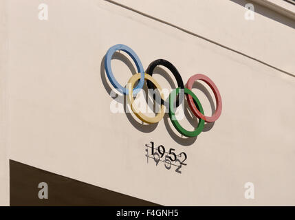 Logo outside the 1952 Olympic Park in Helsinki, Finland - Stock Photo