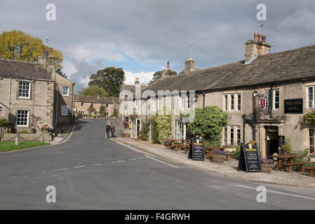 Burnsall village centre in Wharfedale - Stock Photo