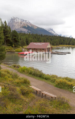View on Maligne Lake and the boathouse with its red roof in Jasper National Park, Rocky Mountains,Alberta,Canada. - Stock Photo