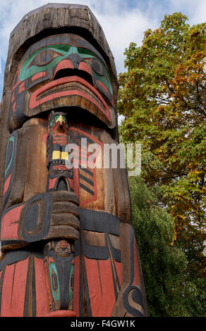 Totem pole called 'Cedar Man Walking out of the Log'', in Duncan, Cowichan Valley, Vancouver Island, British Columbia, - Stock Photo