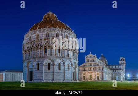 The Baptistery and the Cathedral of Pisa, the Leaning Tower behind, Pisa, Tuscany, Italy, Europe - Stock Photo