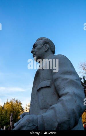 Moscow, Russia - September 25, 2015:  City artistic park Muzeon. Sculpture of the head of the USSR Leonid Brezhnev. - Stock Photo