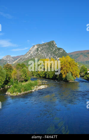 River Ariege and countryside at Tarascon, Ariege, Midi-Pyrenees, France - Stock Photo