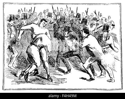 Vintage newspaper illustration depicting the famous 1860 bare-knuckle fight between Tom Sayers (1826 - 1865), Champion - Stock Photo