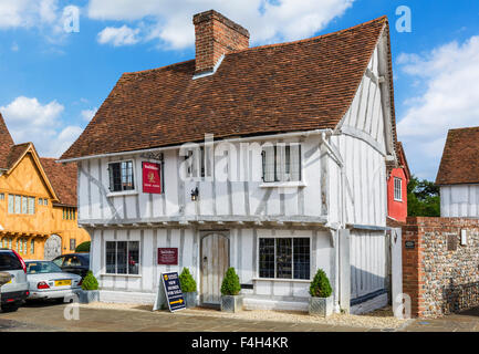 Old timber-famed building on Market Lane in the village centre, Lavenham, Suffolk, England, UK - Stock Photo