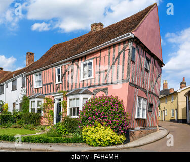 Lavenham Suffok. A colourful old crooked house in the village of Lavenham, Suffolk, England, UK - Stock Photo