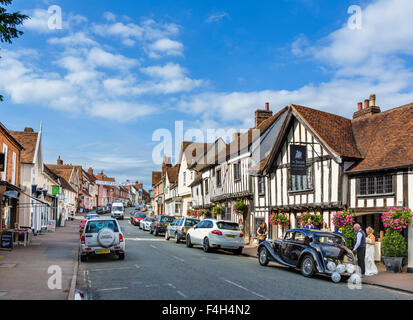 The High Street with the Swan Hotel to the right, Lavenham, Suffolk, England, UK - Stock Photo