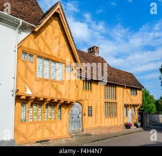 Little Hall, a medieval wool merchant's house in the village centre, Lavenham, Suffolk, England, UK - Stock Photo