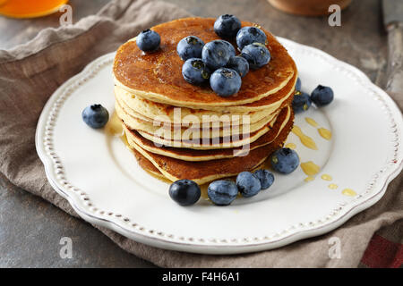 stack pancakes with syrup, food closeup - Stock Photo