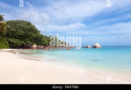 Beach Anse Lazio on the island of Praslin, Seychelles - Stock Photo