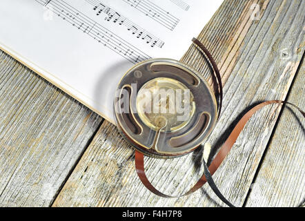 Old music tape with music notes - Stock Photo