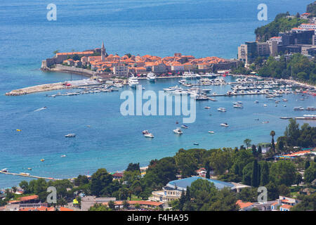 Budva, Montenegro. Overall view of Old Town. - Stock Photo