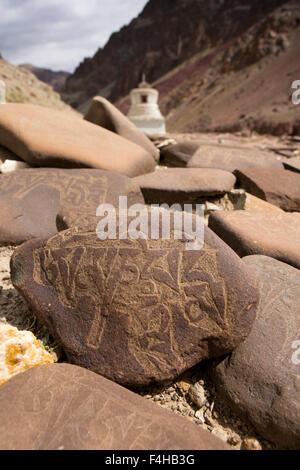 India, Jammu & Kashmir, Ladakh, Miru, mani stones with mantra inscribed in Tibetan Script - Stock Photo