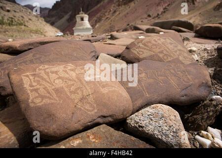 India, Jammu & Kashmir, Ladakh, Miru, mani stones with mantra inscribed in Tibetan Script, beside, Leh to Manali - Stock Photo