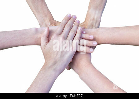 Six arms unite with hands on each other isolated on white background - Stock Photo