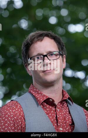 Simon Sylvester, writer, teacher and occasional filmmaker, at the Edinburgh International Book Festival 2015. Edinburgh, - Stock Photo