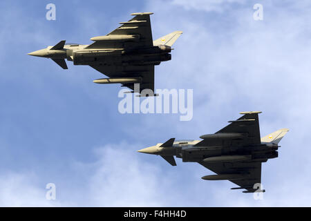 2 Royal Air Force Eurofighter EF-2000 Typhoon FGR4 overflying runway 31. - Stock Photo