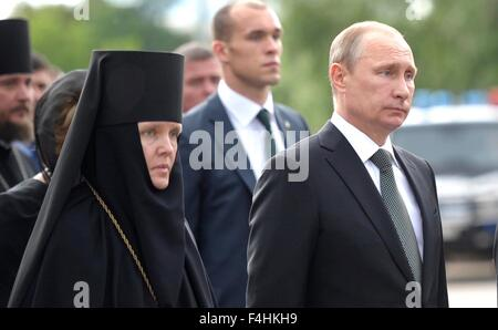 Russian President Vladimir Putin during the funeral of former prime minister Yevgeny Primakov June 29, 2015 in Moscow, - Stock Photo