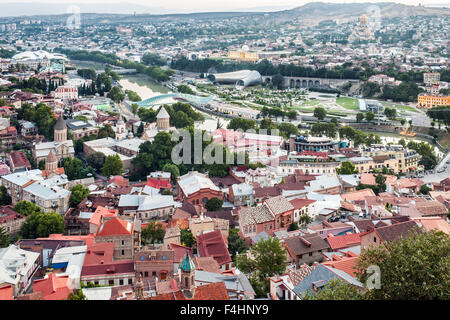 Dawn view over the old town and Mtkvari River in Tbilisi, the capital of Georgia. - Stock Photo