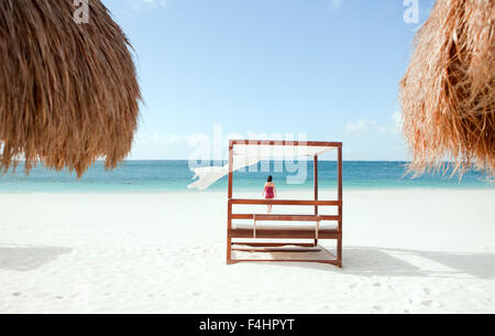 The main beach on Isla Mujeres, an island off Cancun, Quintana Roo, Mexico. - Stock Photo