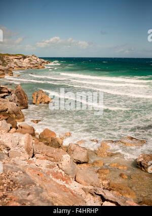 Views of the Caribbean Coast along what tourists call Panoramic Drive, Isla Mujeres, Quintana Roo, Mexico. - Stock Photo