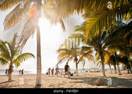The main beach on Isla Mujeres, an island off Cancun, in Quintana Roo, Mexico. - Stock Photo