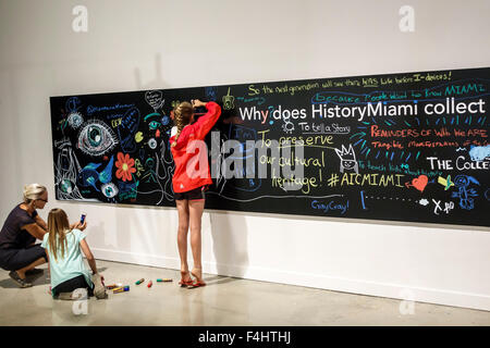 MiamiMiami Florida-Dade Cultural Center centre HistoryMiami Museum local history inside exhibits girl student chalkboard - Stock Photo
