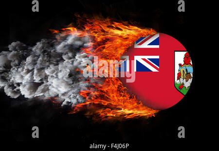 Concept of speed - Flag with a trail of fire - Bermuda - Stock Photo