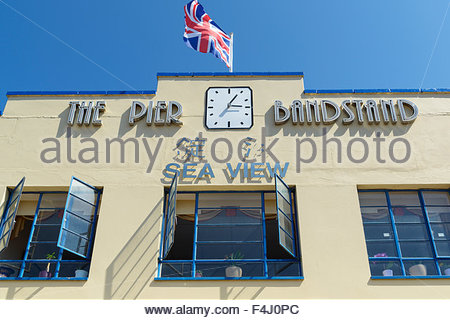 The remaining section of the Art Deco Bandstand Pier, Weymouth, Dorset, England UK - Stock Photo
