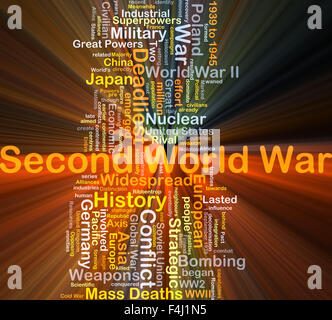 Background concept wordcloud illustration of Second World War glowing light - Stock Photo