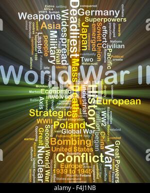 Background concept wordcloud illustration of World War II glowing light - Stock Photo