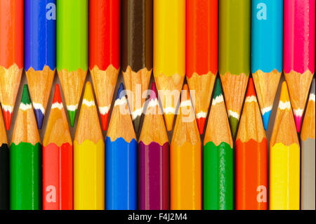 crayons as symbol for teamwork - Stock Photo