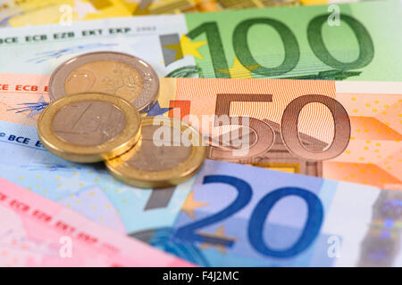 banknotes of euro currency - Stock Photo