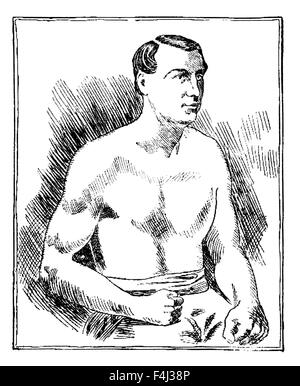 Vintage newspaper portrait of English bare-knuckle boxer Tom Sayers (1826 - 1865). Sayers, born in Brighton, Sussex, - Stock Photo