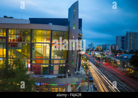 View of Lincoln Regal cinemas and Alton Road, South Beach, Miami Beach, Florida, United States of America, North - Stock Photo
