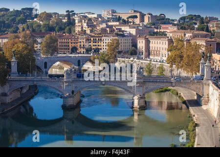View looking over Vittorio Emanuele II Bridge, Rome, Lazio, Italy, Europe - Stock Photo
