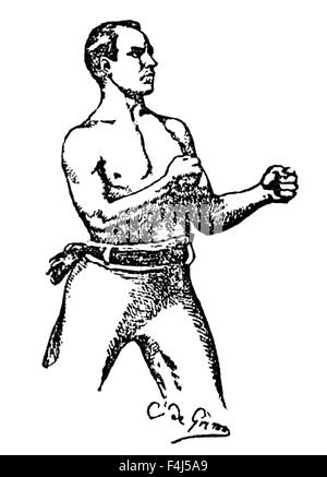 Vintage newspaper portrait of Irish-American middleweight boxer Dominick McCaffrey (1863 - 1926). McCaffrey, born - Stock Photo