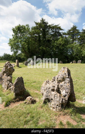 The Kings Men stone circle, The Rollright Stones, on the Oxfordshire Warwickshire border, England, United Kingdom, - Stock Photo