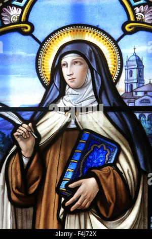 Stained glass window of St. Therese of Lisieux, Shrine of Our Lady of La Salette, La Salette-Fallavaux, Isere, France, - Stock Photo