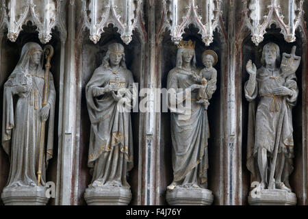 Statues in the University Church of St. Mary the Virgin, Oxford, Oxfordshire, England, United Kingdom, Europe - Stock Photo