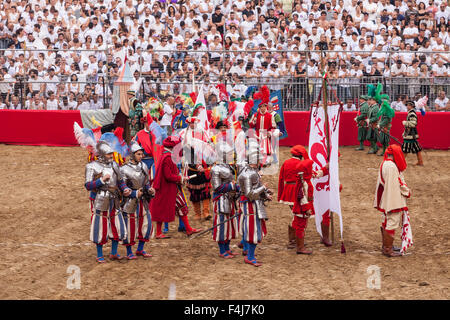 Traditional costumes at the Calcio Storico (Calcio Fiorentino) parade in Florence, Tuscany, Italy, Europe - Stock Photo