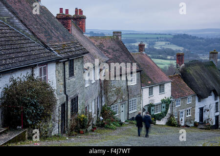 The iconic and classic view from Gold Hill in Shaftesbury, Dorset, England, United Kingdom, Europe - Stock Photo